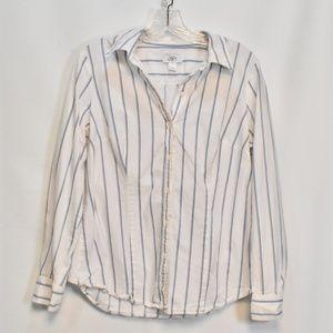 Women's Loft Stripe Button Down Shirt 14
